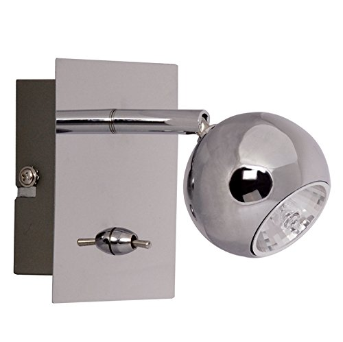 Malvern Modern Single Ceiling/Wall Spotlight Chrome Finish Square with Toggle Switch