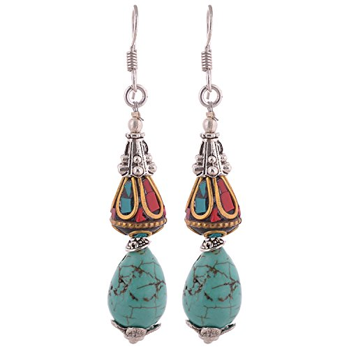 Iris Hand Crafted Tibetan Earrings With Real Turquoise