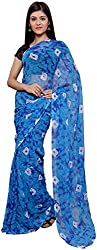 S R Couture Women's Georgette Saree with Blouse Piece (Blue)