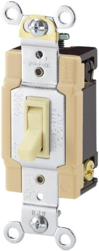 Cooper Wiring Devices 1242-7A-Sp-L 15-Amp, 120-Volt Standard Grade 4-Way Framed Toggle Ac Quiet Switch, Almond