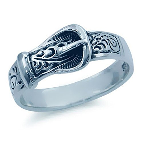 925 Sterling Silver BELT BUCKLE Ring Size 7 (Silver Belt Buckle Ring compare prices)