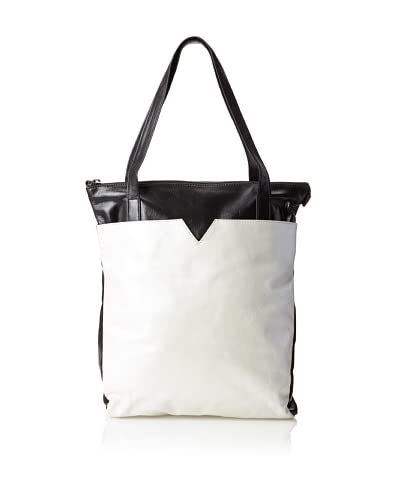 Latico Women's Ingrid Bucket Tote, Metallic White/Black As You See