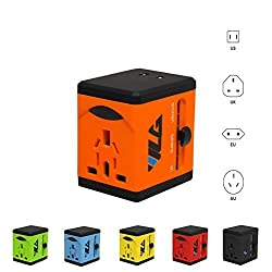 #1 Rated Travel Adapter and Charger - USB Charging Ports - Super Fast Charging - All International Standard Cell Phone/Desktop/Laptop/Touch Screen Tablet/Computer/GPS Chargers - Pumpkin Orange