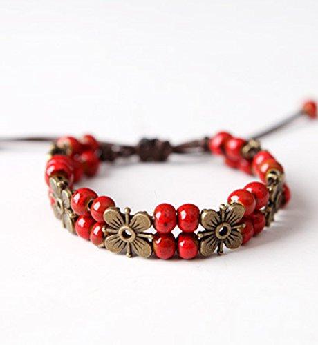 winters-secret-handmade-ancient-ceramic-beaded-flower-temperament-red-wrap-bracelet