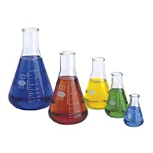 Kimble Chase KIMAX Erlenmeyer Flask Starter Pack, Borosilicate Glass, one each of sizes 50, 125, 250, 500, and 1000 mL