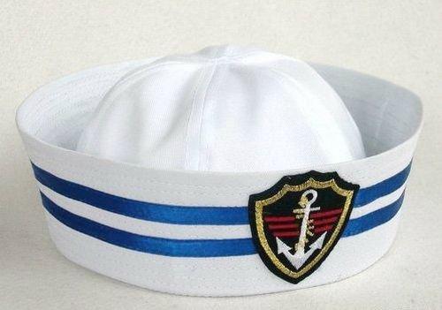 ポパイハット 白いセーラー帽 徽章とブルーのライン コスプレ ハット  53cm レディース & キッズ