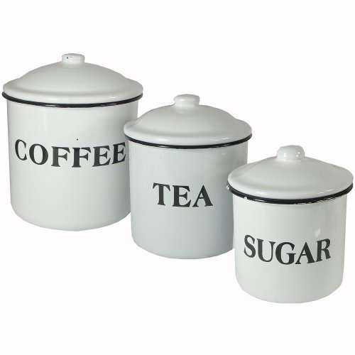 Set Of 3 Enameled Metal Coffee Tea Sugar Containers