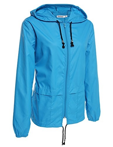 Meaneor Damen Jacke Übergangsjacke Regenjacke mit Kapuze Tasche Regenparka Funktionsjacke Wasserdicht Atmungsaktiv -