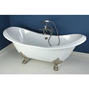 72 Cast Iron Double Slipper Claw Foot Bathtub With Satin Nickel Deck Mo