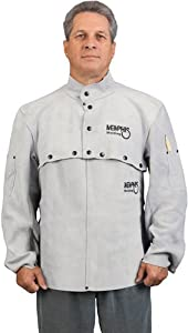 MCR Safety 38100MWXL Memphis Split Cow Leather Welding Cape Sleeve with Open Back, Gray, X-Large