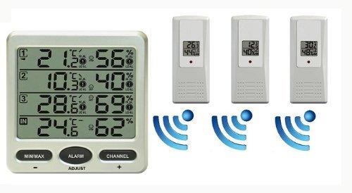 Funk-Thermometer-Froggit-FT0073-mit-3-Aussensensoren-Luftfeuchte-LCD-Display-Minmax