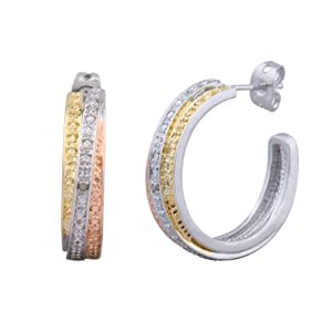 Brass, 18k Yellow and Rose Gold Plated Three-Tone Bypass J-Hoop Earrings