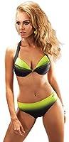 Maillot de bain superbe pour femme, deux pieces, type bikini, armatures, bonnets pleins soutien-gorge