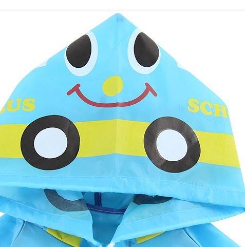 (青)後ろ姿が超かわいい!!キッズ レインコート 選べる5種類 雨合羽 カッパ ポンチョ  子供用 (青色クルマ)