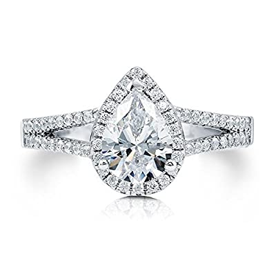 BERRICLE 925 Sterling Silver Pear Cut Cubic Zirconia CZ Halo Women Engagement Wedding Bridal Ring