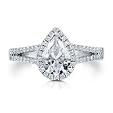 buy Berricle Sterling Silver Pear Cubic Zirconia Cz Halo Promise Engagement Wedding Split Shank Ring