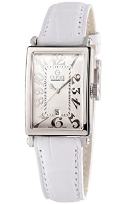 Gevril Women's 7040N.1 White Guilloched Dial Genuine Alligator Strap Watch