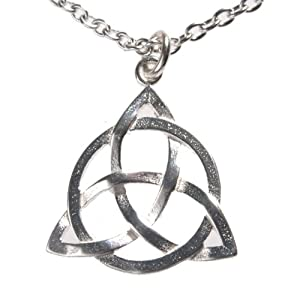 Delicate Triquetra Trinity Knot Silver Dipped Necklace on 18