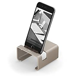 elago® M3 Stand [Champagne Gold / Authentic Walnut] - [Premium Aluminum][Hybrid Design][Optimal Angle] - for all iPhones, iPad Mini, Galaxy and other Smartphones