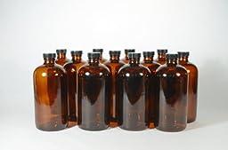 32 Oz Amber Growler (Boston Round) with Phenolic Lid - Case of 12