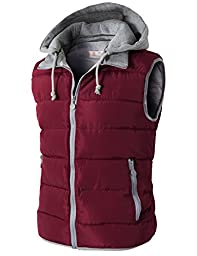 H2H Mens Active Slim Fit Lightweight Puffer Hoodie Vest With Pockets WINE US L/Asia 3XL (KMOV0108)