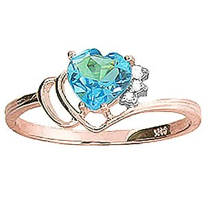 QP Jewellers Natural Diamond & Blue Topaz Ring in 9ct Rose Gold, 0.95ct - 1033R