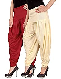 Navyataa Women's Lycra Dhoti Pants For Women Patiyala Dhoti Lycra Salwar Free Size (Pack Of 2) Red & Cream