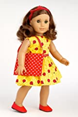 Let's Go Shopping - Yellow Ladybug Dress with Shopping Bag, Red Shoes and Matching Headband - 18 Inch American Girl Doll Clothes