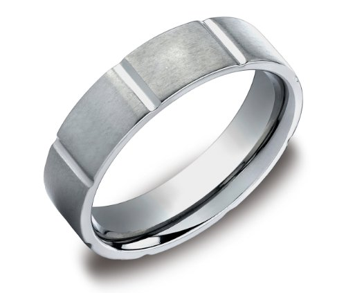 Men's Titanium 6mm Comfort Fit Wedding Band Ring Satin Finish with High Polished Vertical Cuts, Size 8