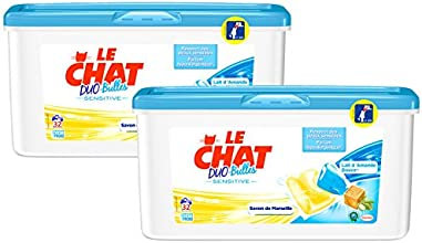 Le Chat Sensitive Lessive Liquide en Dose 32 Doses / 32 Lavages - Lot de 2