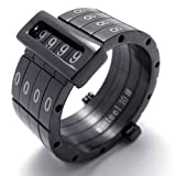 KONOV Jewelry Love Password Combined Unisex Stainless Steel Band Ring – Black (Available in Size 8, 9, 10, 11, 12, 13) (with Gift Bag) Picture
