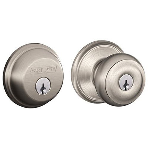 Schlage FB50N V GEO 619 B60 Single Cylinder Deadbolt and F51 Keyed Entry Georgian Knob Keyed Alike, Satin Nickel finish (Door Lock Sets Keyed Alike compare prices)