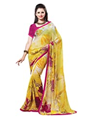 Indian Designer Sari Appealing Floral Printed Faux Georgette Saree By Triveni
