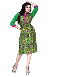 Tulip Collections Women's Cotton Straight Kurta,Green&Purple_L