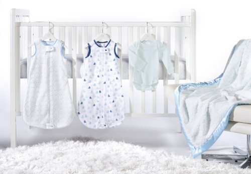 SwaddleDesigns 5 Piece zzZipMe Sack Crib Bedding Set with Luxury Adult Blanket, Pastel Blue, 3-6months