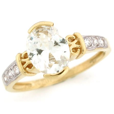 10K Solid Yellow Gold Oval Brilliant CZ Promise Ring