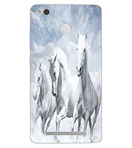 ColourCraft Amazing White Horses Design Back Case Cover for XIAOMI REDMI 3X