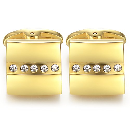 Honey Bear Mens Gold Square Business Wedding Cufflinks with White Crystal