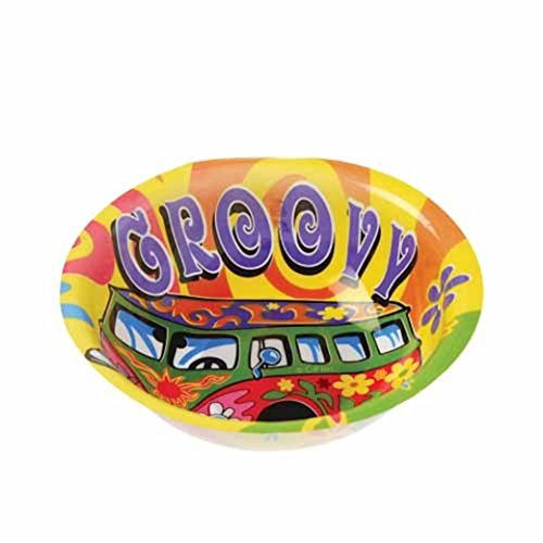 Dozen Retro Hippie Design Plastic Party Bowls