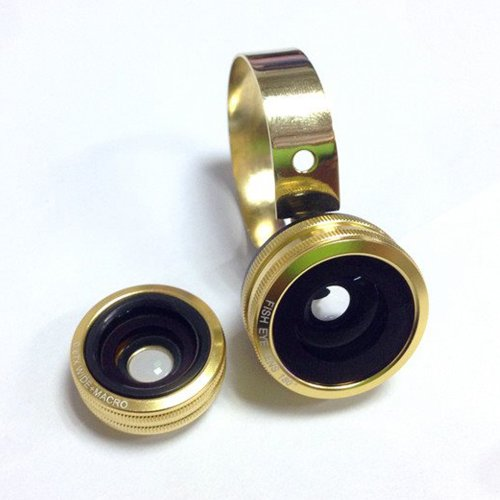 Moon Monkey Universal 3 In 1 Camera Lens Kit For Smart Phones (Samsung S5,S4,Note 3,Note 2,Iphone 5S,5C,5) Fish Eye Lens Ipad Air,Ipad Mini 180°Fish Eye/0.67X Wide+Macro/One Metal Clip (Gold)