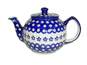 Pottery Teapot Hand Painted Blue and White