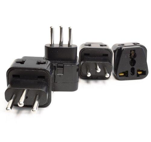 Orei 2 In 1 Usa To Switzerland Adapter Plug (Type J) - 4 Pack, Black