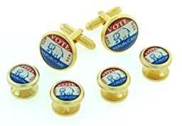 JJ Weston Vote Republican Tuxedo Cufflinks and Shirt Studs. Made in the USA.
