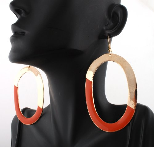 Basketball Wives Gold Oval Shaped with Orange Hoop Earrings Poparazzi