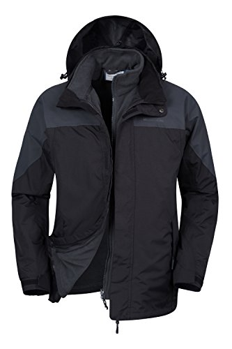 Mountain Warehouse Storm Herren 3 in 1 einstellbare wasserfeste jacke mantel