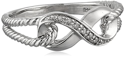 Sterling Silver Infinity Rope Diamond Ring (0.03 cttw, I-J Color, I2-I3 Clarity)
