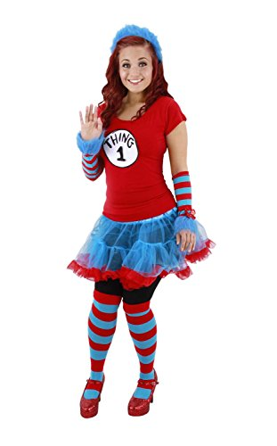 Dr. Seuss Thing 1 & 2 Striped Costume Knee Highs Adult