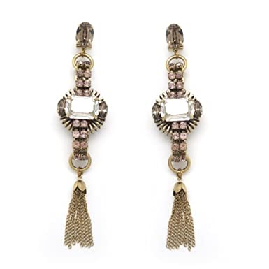 Long Sunburst Tassel Earrings by Anton Heunis