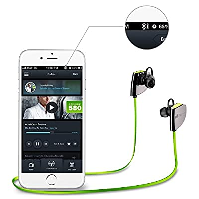 EC Technology Sweat-proof Wireless Sport Headphones for Smartphones and Bluetooth Devices - Green