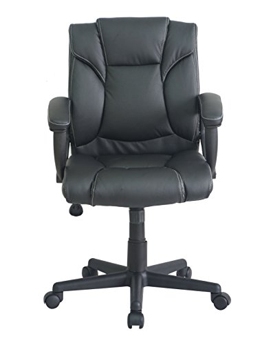 Office Factor Mid Back Black Managers Desk Task Office Chair Ergonomic With P